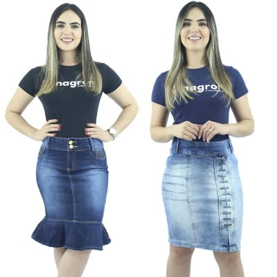 Combo 2 Saias Jeans Azul Anagrom Moda Evangélica