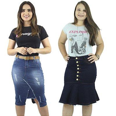 Saias Jeans Modelos Diferentes Kit com 2 Anagrom