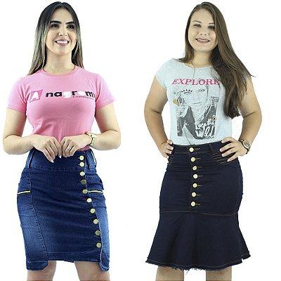 Kit de 2 Saias Jeans Moda feminina Anagrom