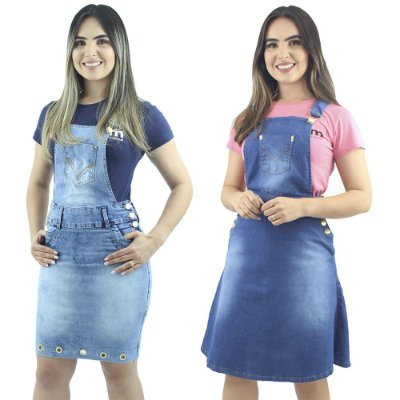 Combo 2 Jardineiras Jeans Azul Moda Cristã Anagrom