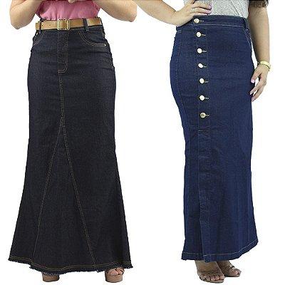 Kit 2 Saias Longas Jeans Moda Evangélica Anagrom