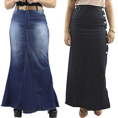 Kit Moda Evangélica de 2 Saias Longas Jeans Anagrom