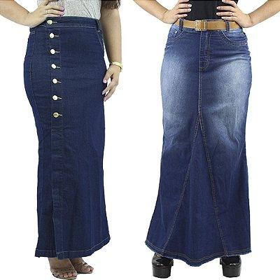 Combo 2 Saias Longas Tecido Jeans Azul Anagrom