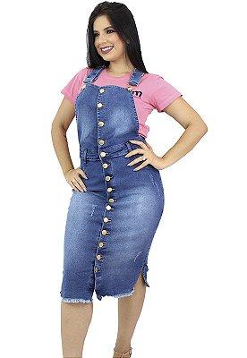 Jardineira Jeans Azul Fechamento de Botão Anagrom Ref.4026