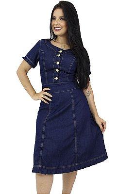 Vestido Jeans Escuro Evasê Moda Evangélica Anagrom Ref.5013