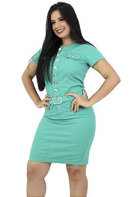 Vestido Brim Básico Verde Água Com Cinto Anagrom Ref.5010