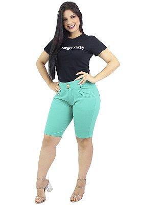 Bermuda Média Brim Feminina Verde Anagrom Ref.3009
