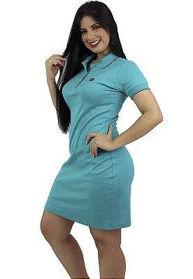 Vestido Gola Polo Malha Verde Água Ref.9003