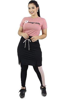 Calça com Saia Moda Evangélica Fitness Preta Anagrom Ref7001
