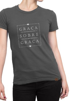 T-shirt Frases Moda Evangélica Anagrom Cinza Ref.C008