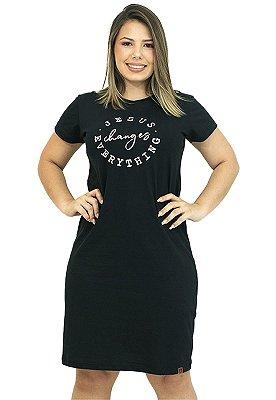 Vestido T-Shirt Preta Frase Evangélica Anagrom Ref.V009