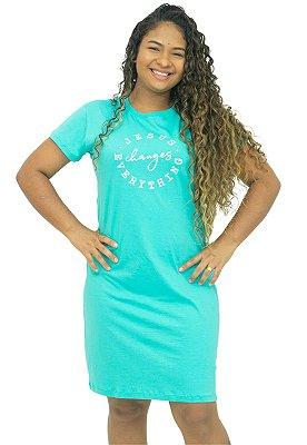 Vestido Moda T-Shirt Verde Piscina Anagrom Ref.V012