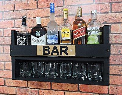 Barzinho de Parede MDF 60cm x 35cm Preto Fosco