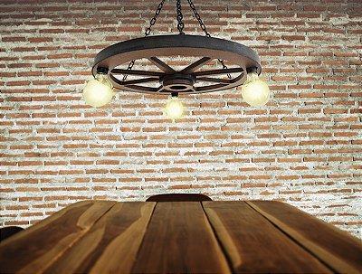 Luminária Roda De Carroça 57cm MDF - Médio