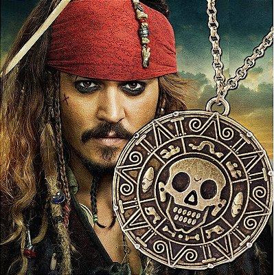 Colar Piratas do Caribe com Pingente Caveira Moedas de Ouro Asteca