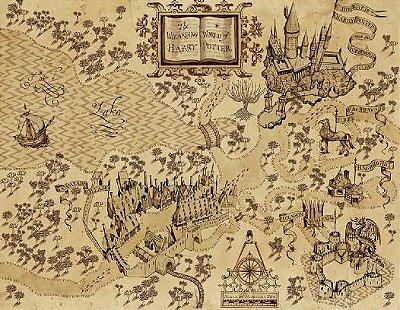Adesivos de Parede Mapa do Mundo Mágico de Harry Potter Sem Moldura