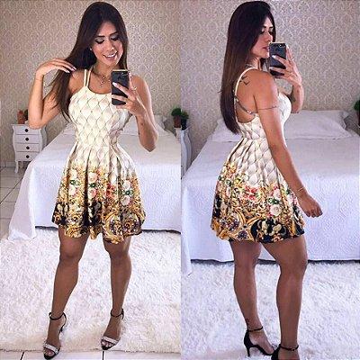 Vestido Neoprene De Alcinha Curto Floral Com Bojo