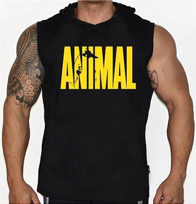 Camiseta Regata Machão com Capuz Animal Preta
