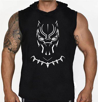 Camiseta Regata Machão Com Capuz Pantera Negra
