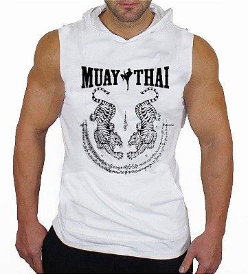 Camiseta Regata Machão Com Capuz Muay Thai Branca