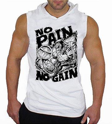 Camiseta Regata Machão Com Capuz No Pain No Gain