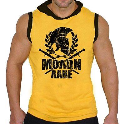 Camiseta Regata Machão Com Capuz Spartan Elmo Epartano Amarela