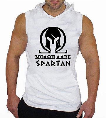 Camiseta Regata Machão Com Capuz Spartan Elmo Epartano Branca