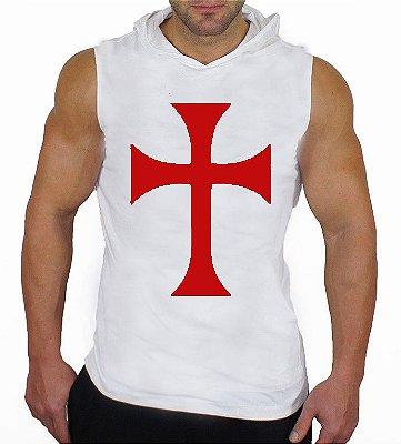 Camiseta Regata Machão com Capuz Cruz Cavaleiro Templário Branca