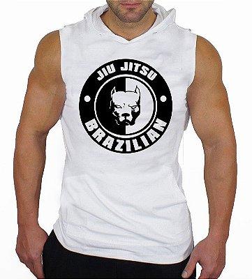 Camiseta Regata Machão com Capuz Brazilian Jiu Jitsu Pitbull branca