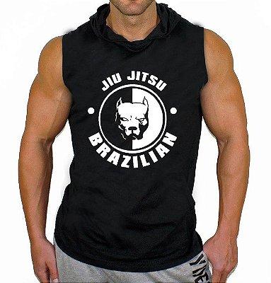 Camiseta Regata Machão com Capuz Brazilian Jiu Jitsu Pitbull Preta