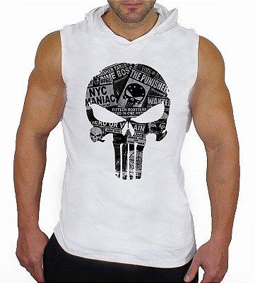 Camiseta Regata Machão com Capuz Caveira Justiceiro Branca
