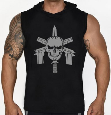 Camiseta Regata Machão com Capuz Bope Tropa de Elite Faca na Caveira