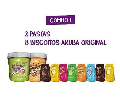 Combo 01 - 2 Pastas 1kg (Original ou Crunchy) + 8 Biscoitos Aruba Original