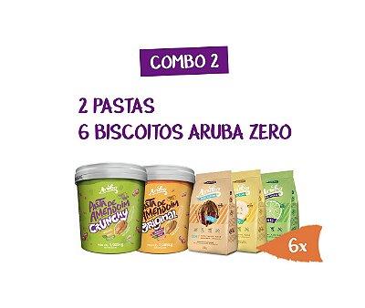 Combo 02 - 2 Pastas 1kg (Original Ou Crunchy) + 6 Biscoitos Aruba Zero (sabores)