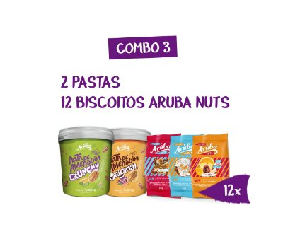 Combo 03 - 2 Pastas 1kg (Original ou Crunchy) + 12 Biscoitos Aruba Nuts