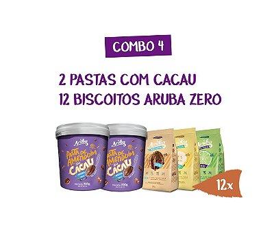Combo 04 - 2 Pastas de Cacau 800g + 12 Biscoitos Aruba Zero