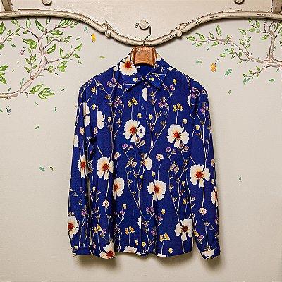 Camisa Mãe Floral Azul Viscose