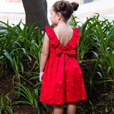 Vestido Babado Ancoras Red