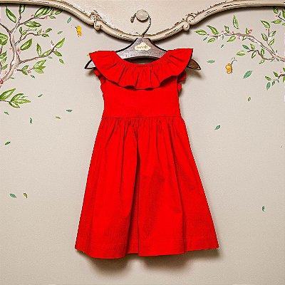 Vestido infantil Babado Vermelho