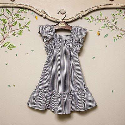 Vestido infantil listra azul bolonha