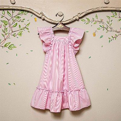 Vestido Bolonha Listra Rosa