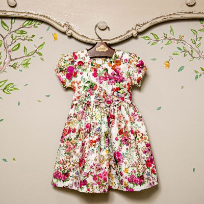 Vestido Bebe e Infantil  Floral laço