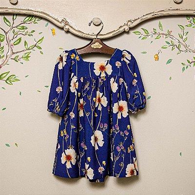Vestido Infantil Floral Viscose Azul