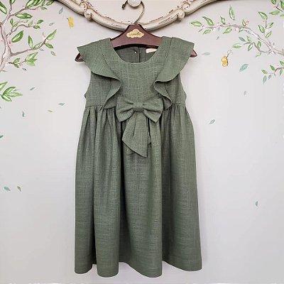 Vestido Infantil Linho Verde