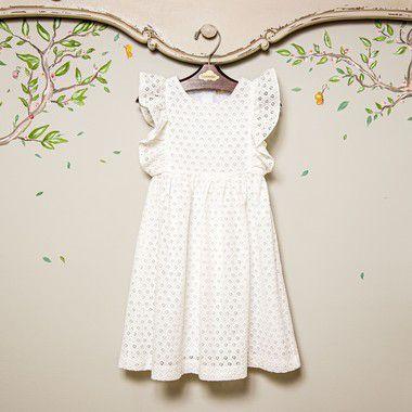Vestido bebe Branco Laise