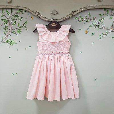 Vestido Bordado Infantil Rosa Pipoca
