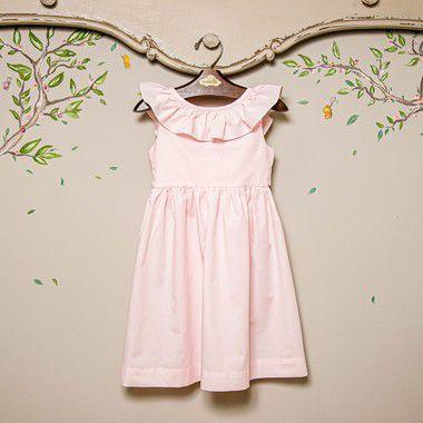 Vestido infantil babado Rosa