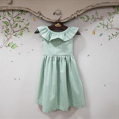 Vestido Babado Xadrez Verde