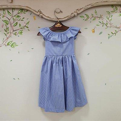 Vestido infantil babado Vichy Azul royal