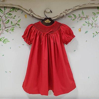 Vestido bata bordado Infantil Vermelho